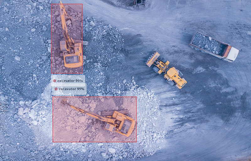 excavator identified and tagged by image recognition software