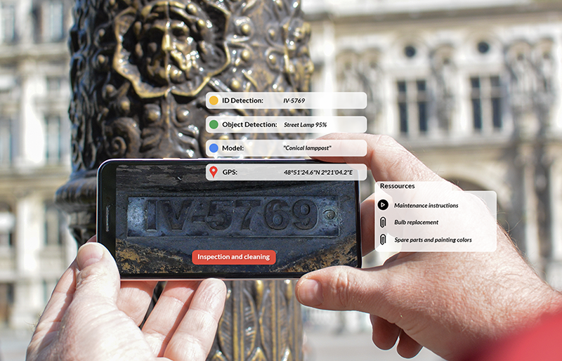 image recognition app identifies object, location, maintenance instructions, and recommends cleaning for street lamp