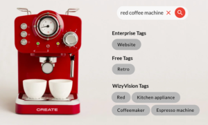 red coffe machine with tags identified by artificial intelligence